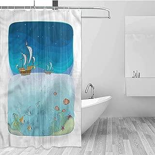 GloriaJohnson Fantasy Hotel Fabric Shower Curtain Night Scene Pirate Ship Suitable for Bathroom W78 x L72 Inch