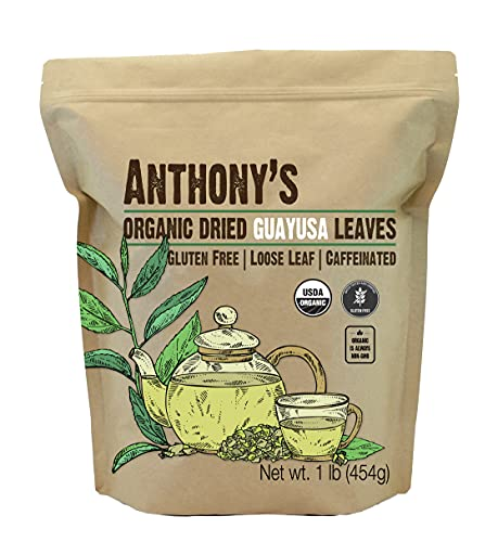 Anthony's Organic Guayusa Leaves, 1 lb, Gluten Free, Non GMO, Naturally Caffeinated