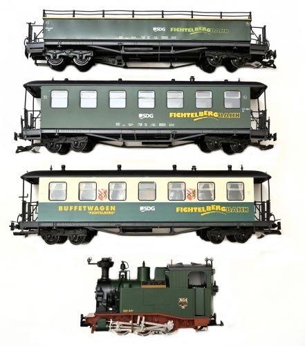 Zugset SDG mit sächs. LGB Lok 54, Buffetwagen + Personenwagen Spur G