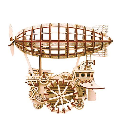 Rubyu-123 Juego de construcción de madera 3D, maqueta mecánica DIY, modelo de barco aéreo retro, juego lógico Raetsel, juguete único, regalo creativo para niñas y niños
