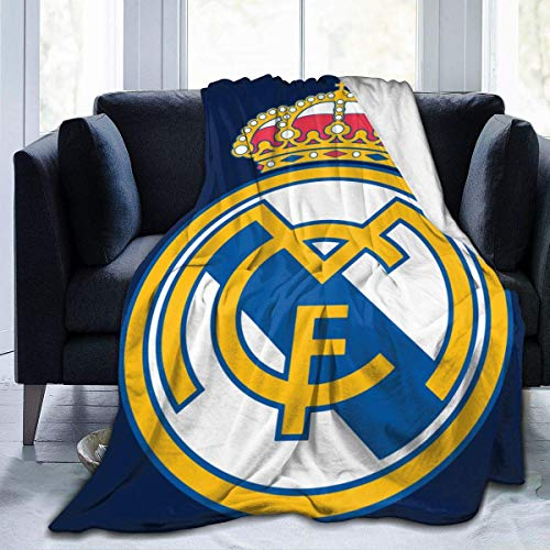 Manta de forro polar suave para silla del Real Madrid, muy cálida para viajes