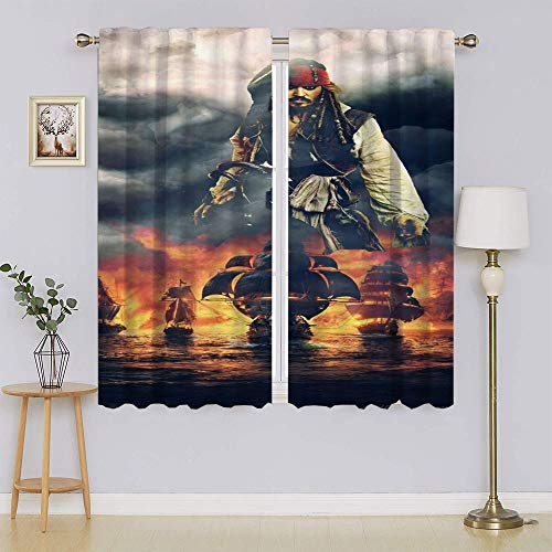 Pirates Of The Caribbean Curse Of The Black Pearl Movie Poster Living Room Window Curtain Panels, Panel&Sliding door insulated curtains for Bedroom/Living Room W72' x L63'