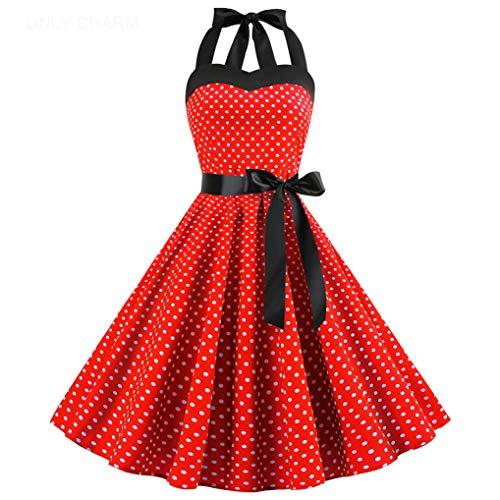 ONLY CHARM Damen Neckholder Kleider, Elegant Vintage Retro Cocktailkleid 1950er Rockabilly Petticoat Faltenrock Festliche Kleider, Rot,XL
