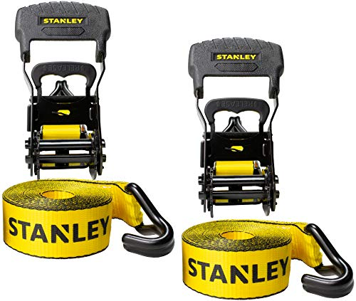 "Stanley S1007 Black/Yellow 1.5"" x 16' Ratchet Tie Down Straps - Heavy Cargo Hauling (3,300 lbs Break Strength), 2 Pack"