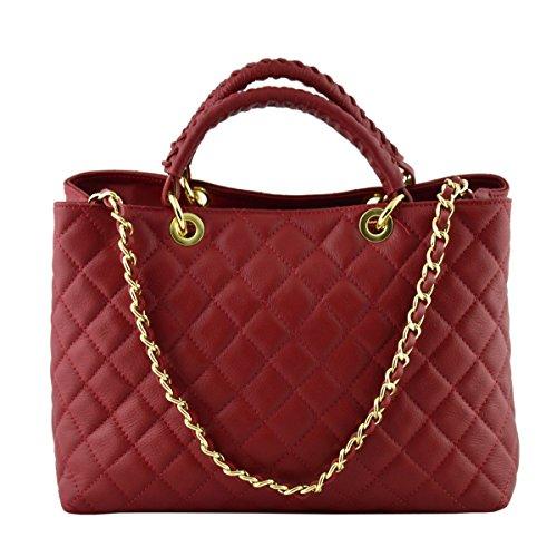 Dream Leather Bags Made in Italy toskanische echte Ledertaschen Echtes Leder Gestepptes Handtasche Farbe Rot - Italienische Lederwaren - Damentasche