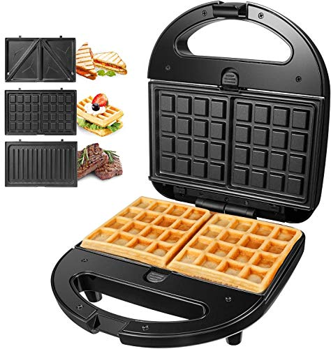 Sandwich Maker, Waffle Maker, Sandwich Grill, 750-Watts, 3-in-1 Detachable Non-stick Coating, LED Indicator Lights, Cool Touch Handle, Anti-Skid Feet, Black 2
