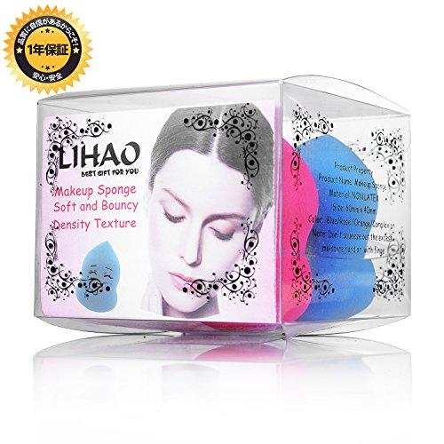 LIHAO携帯式プロメイクスポンジもちもちした化粧スポンジパフ朝塗ったファンデ崩さない専用スポンジ涙型ヒョウタン型4個セット