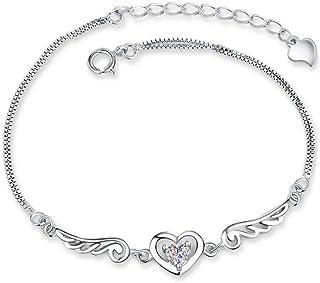 Sug Jasmin Breloque en forme de c/œur grav/é d/'ailes dange charm pour bracelets europ/éens