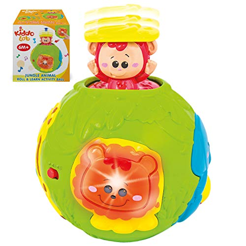 Jungle Animal Roll & Learn Fun Baby Activity Ball. Activity Center with Light, Sounds and Music. Crawling Toys for 6 month old and up boys. Electronic Playtime Light Up Monkey Ball Toy for Toddlers