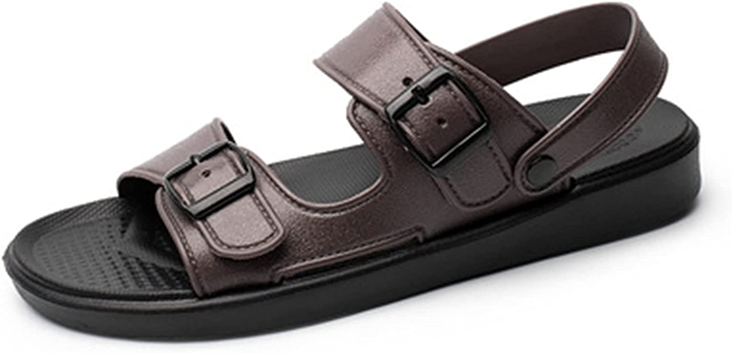 Sandals Men's Outdoor Hiking Sport flip flops Summer Comfortable Breathable Water Beach sandals fashion elegant leather Open toe Shoes Casual light Thick bottom Sandals ( Color : Brown , Size : 40 )