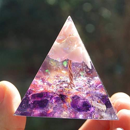 Fashio. Handgemachte Pyramide Pink Opal Mit Amethyst Quarz Reiki (Size : 50mm)