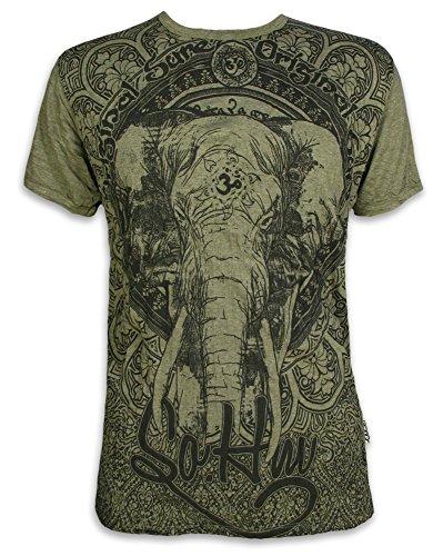 Sure Clothing Om Ganesha Talla M L XL Espíritu Natural Budismo Yoga Boho Hinduismo Namaste Dios Elefante (XL, Verde Oliva)