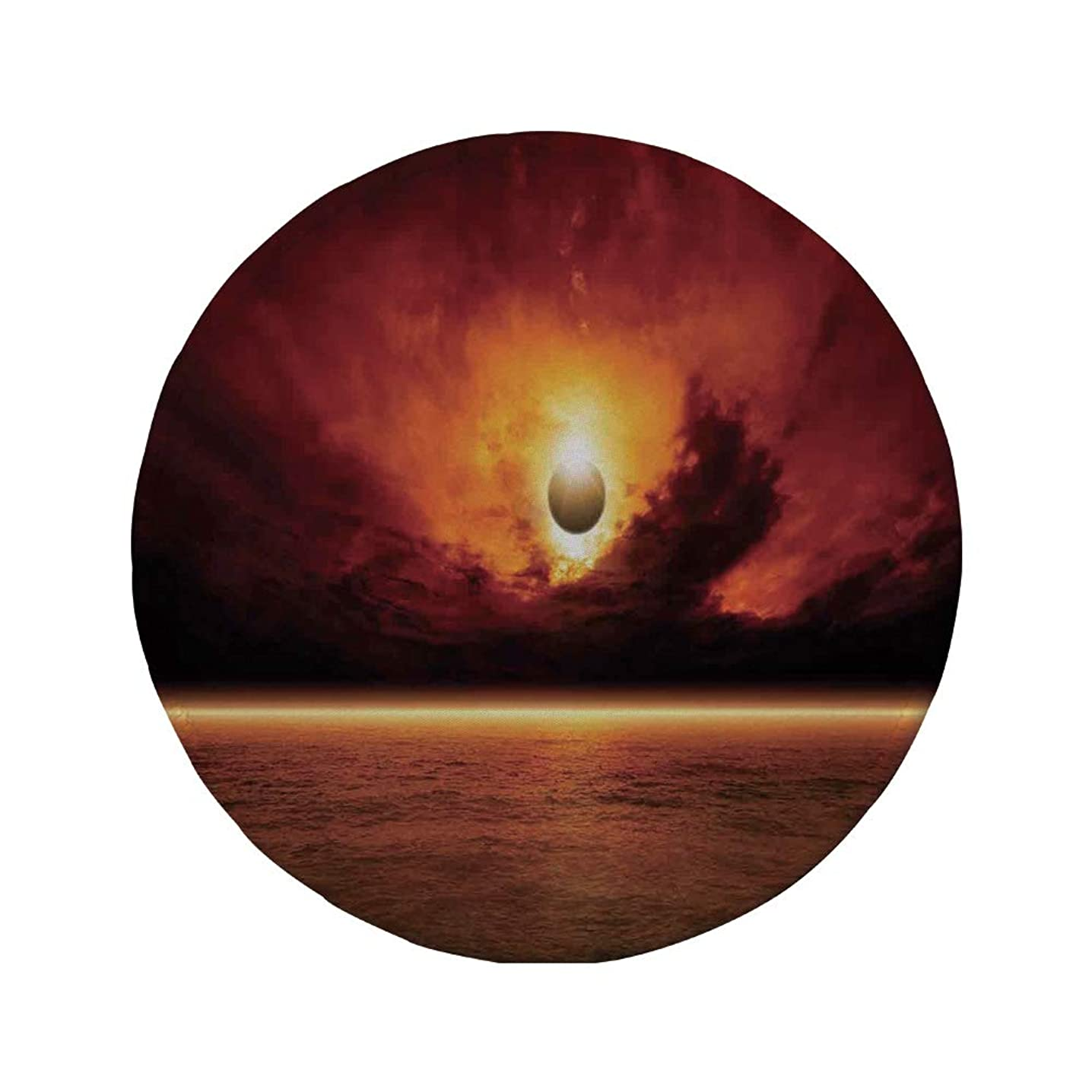 Non-Slip Rubber Round Mouse Pad,Mystic House Decor,Dramatic Apocalyptic Sun Eclipse View with Dark Red Sky Sea Horizon Decorative,Orange and Yellow,7.87