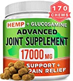 GOODGROWLIES Hemp Chews + Glucosamine - Advanced Dog Joint Supplement - Hemp Seed Oil - MSM, Turmeric, Chondroitin - Natural Joint Pain Relief - Made in USA, 170 Treats, Peanut Butter Flavor