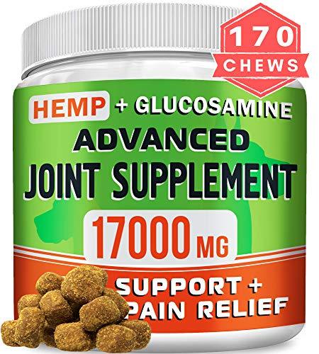 GOODGROWLIES Hemp Chews + Glucosamine - Advanced Dog Joint Supplement - Hemp Seed Oil - MSM, Turmeric, Chondroitin - Natural Joint Pain Relief - Made in USA, 170 Treats, Peanut Butter Flavor