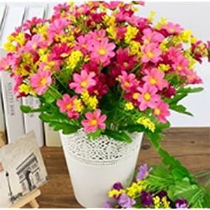 Silk Flower Arrangements Mistari 3 Pcs Plastic Artificial Flowers Daisy Flowers Fake Silk Flowers Home Decorative Party Wedding (Pink)