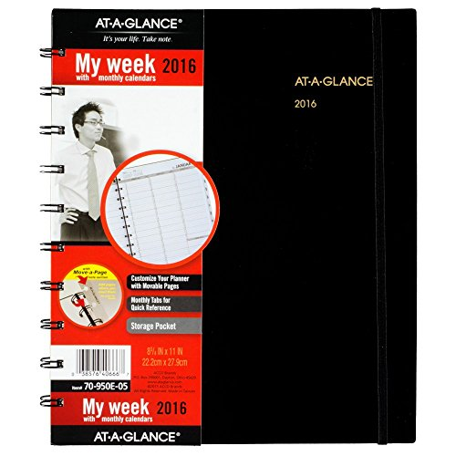 AT-A-GLANCE Weekly / Monthly Appointment Book / Planner 2016, 8.75 x 11 Inches, Move-A-Page, Black (70-950E-05)