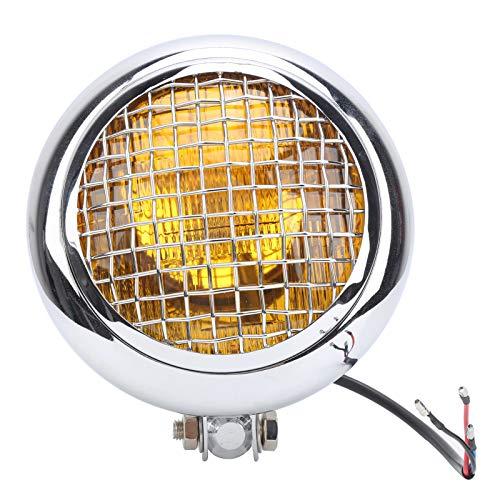 Faro de motocicleta, faro de motocicleta redondo LED de 12 V, estilo retro, faro de luz amarilla de haz alto y bajo de 60 W, impermeable