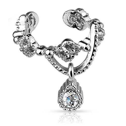 Bungsa® Ornament Ear Cuff Clip Kette mit Kristallanhänger silber (Ohrstecker Conch Fake Piercing Studs Ohrringe Ohrhänger Ohrschmuck Ohrklemmen Damen Frauen Herren Mode)