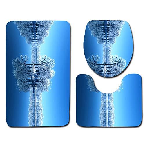 Demarkt 3 Stück Toiletten-Abdeckung Set Waldschneeszene Drucken Toilettenmatte Non-Slip Suction Grip Bath Mat Decor