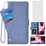 Asuwish Compatible con OnePlus 6 Funda tipo cartera de vidrio templado y protector de pantalla con tapa para teléfono celular OnePlus6 A6000 One Plus6 1 Plus 1plus Six One+ 1+ 6 mujeres hombres azul