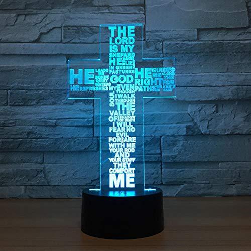 Luces 3D de ilusión 3D, USB, LED, luz nocturna visual, diseño de letras, lámpara de mesa creativa, dios cruzados, decoración para el dormitorio de los niños