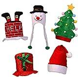 Paquete de 5 Sombreros festivos para fiestas - Ideales para accesorios navideños, diversión para jóvenes y mayores, perfectos para disfraces.