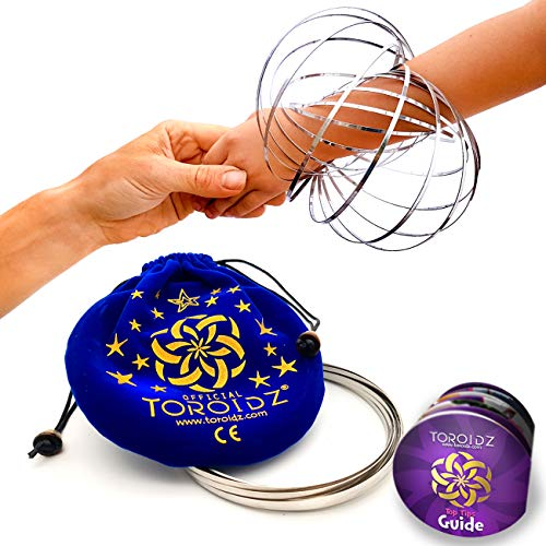 Toroidz  Flow Rings w/ Blue Velvet Bag - Amazing Magic Science Toy - 3D ARM SPRING - Interactive Museum, Circus, Anti Stress, Stocking - All Ages (Silver)