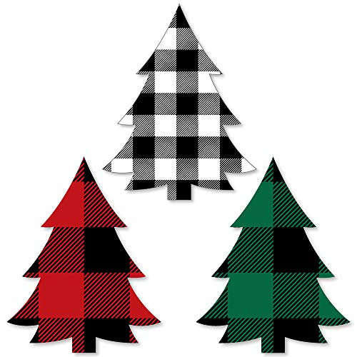 Big Dot of Happiness Holiday Plaid Trees - DIY Shaped Buffalo Plaid Christmas Party Cut-Outs - 24 Count