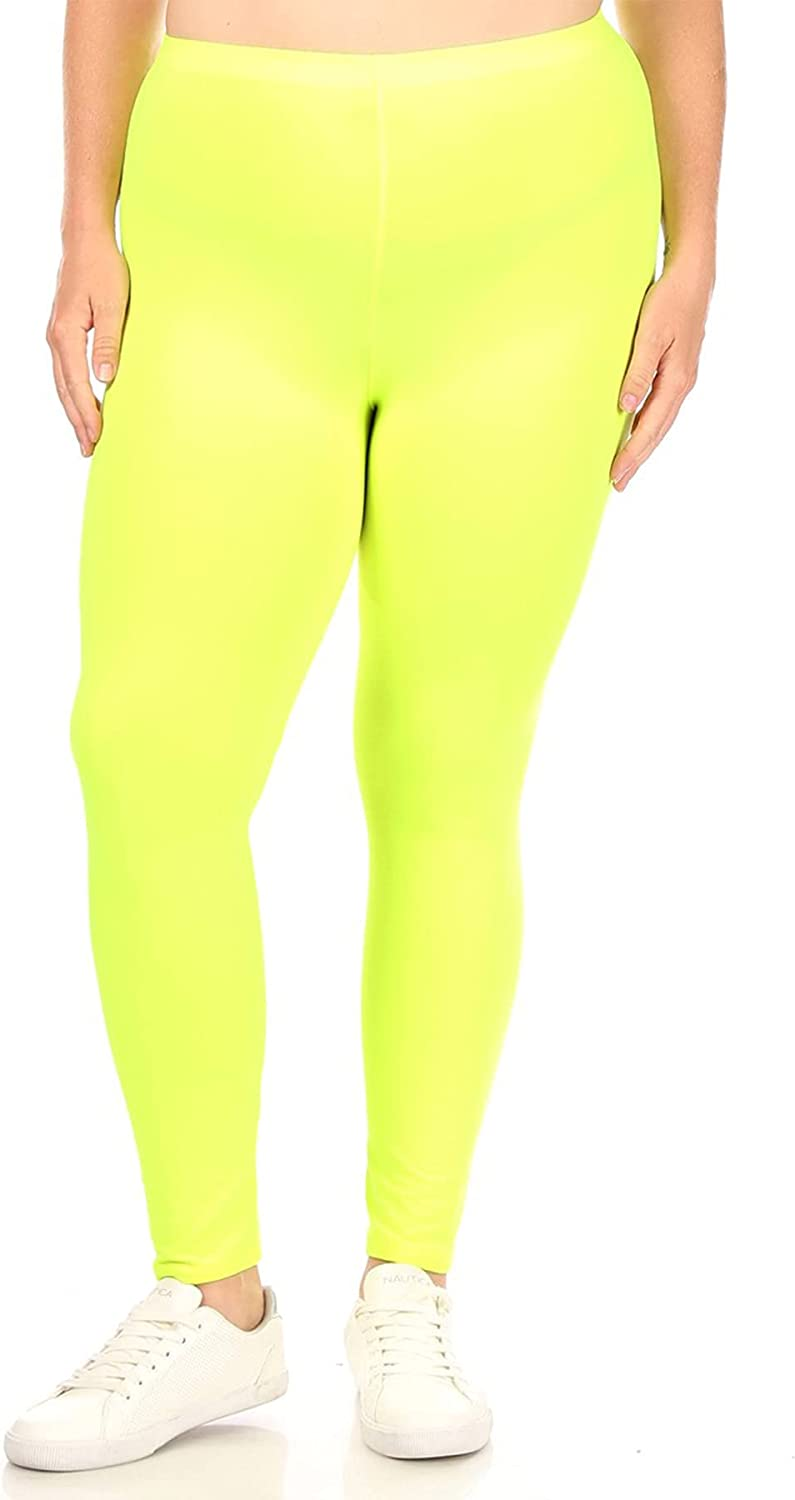 Women's Plus Size Elastic High Waist Solid Stretch Fitted Leggings