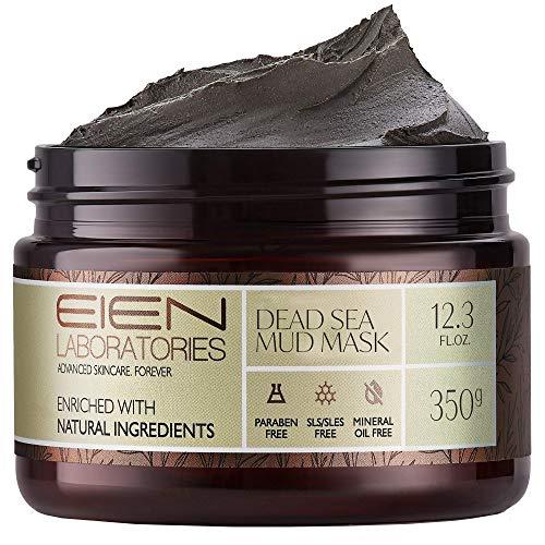 EIEN Laboratories Natural Dead Sea Mud Mask - Exfoliating, Pore Minimizer Face Mask for Radiant, Moisturized Skin - Restorative, Skin Care Infused with Aloe Vera, Vitamins, Minerals, 12.34 oz
