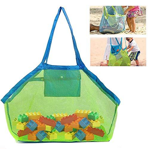Strandtasche Strandspielzeug Tasche, 1 Pcs Große Netztasche Aufbewahrungstasche für Kinder Aufräumsack Spielsack Badetasche Beachbag Faltbar