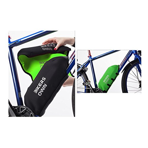 BikersOwn Universal 2-in-1 frame accubescherming plus framebescherming Bosch Ebike omkeerbare accubescherming, zwart-groen, eenheidsmaat