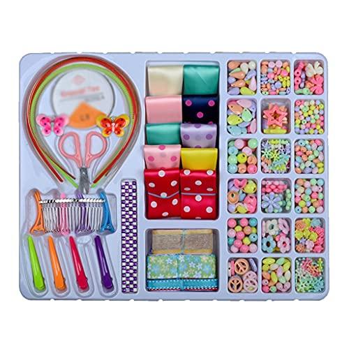 Yousiju DIY Kit de artesanías de joyería Colorida a Mano de Bricolaje con Tijeras de la Cuerda elástica Anillos Abiertos Class de Langosta Juguetes para niños
