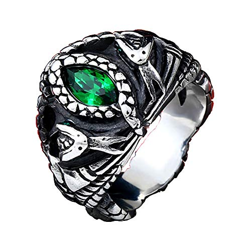 Mens Jewelry Stainless Steel Ring, Aragon's Green Gem Stone Snake Gothic Rings (13)