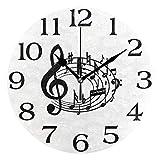 linomo Reloj de pared con diseño musical y notas musicales, silencioso, redondo, silencioso, para cocina, sala de estar, dormitorio, baño, oficina