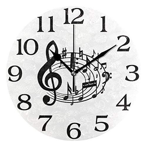 linomo, Orologio da Parete a Tema Musicale con Note Musicali, Silenzioso, Rotondo, Silenzioso, per Cucina, Soggiorno, Camera da Letto, Bagno, Ufficio