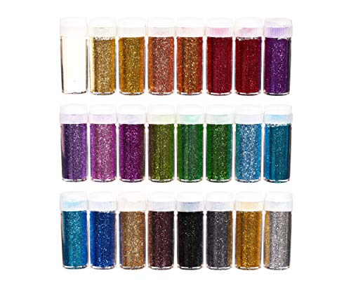 perfect ideaz 24 x 10g (240g) Glitzer-Puder-Set bunt, Glitter-Pulver in 24 Farben, Bastel-Staub in...