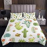 Copriletto con motivo cactus, motivo a fiori verdi, grazioso copriletto e ragazze e ragazzi, tropicale botanica tropicale, set copripiumino per letto con per la stanza, 3 pezzi, con