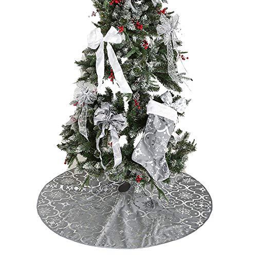 Weihnachtsbaum Decke, Schneeflocken Weihnachtsbaum Rock Dekoration Weihnachtsbaumdecke Elch Weihnachtsbaum Röcke Weihnachtsschmuck Weihnachtsbaum Deko Weihnachtsdeko mit Weihnachtsstrumpf (Grau)