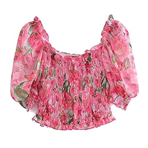 N\P Temperamento ligero maduro viento elástico impresión superior corto delgado un hombro gasa camisa