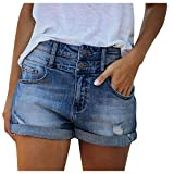 YANFANG Pantalones Cortos con Bolsillos High Rise Vaqueros Short,Shorts Denim Rotos De Mezclilla Jeans BáSicos Bajo Crudo Short Cintura Alta para Mujer,Pantalones EláSticos Moda Mujer Calientes