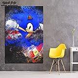 LPHMMD Lienzo Art Deco Wall Art Decor Canvas Poster Painting 1 Panel Game Sonic Hedgehog Music Guitar Home Living Room HD Impreso Imgenes-50x70cm