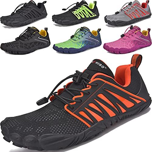 JACKSHIBO Barfussschuhe Herren Barfußschuhe Damen Atmungsaktiv Laufschuhe Schnell Trocknend Sportschuhe Turnschuhe rutschfest Trekking Traillaufschuhe Fitnessschuhe Joggingschuhe (Schwarz Orange,48EU)