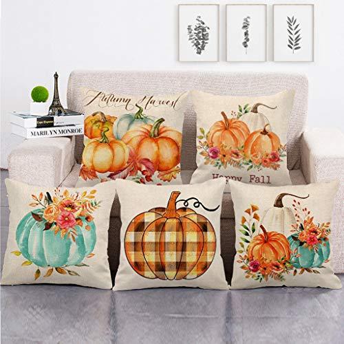 FatCat - Juego de 5 fundas de almohada para decoración del hogar, diseño de otoño de 45 x 45 cm, multicolor