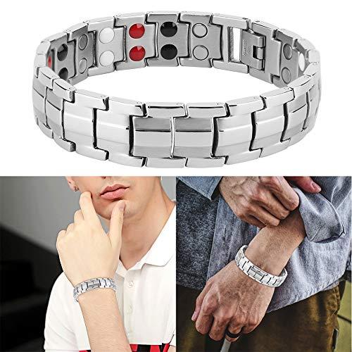 DAUERHAFT Pulsera para hombre de acero de titanio y cerámica adelgazante, pulsera de hombre de acero al titanio de cerámica adelgazante, regalo para hombre, para padres, marido