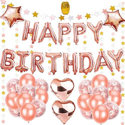 Birthday Decorations Rose Gold, Birthday Decorations for Girls Women, Star Garland, 25Pcs Balloons, 4Pcs Foil Balloons, Golden String