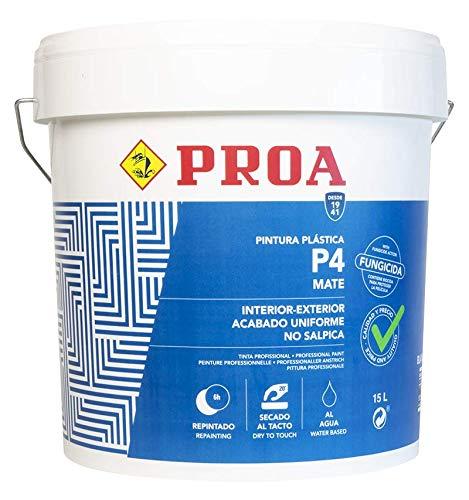 Pintura plástica interior-exterior mate P4, Gran cubrición, Paredes Techos Fachadas 6 KG