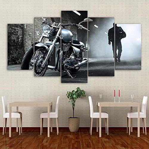 VKEXVDR Art Enlienzo Póster Motorcycle Car – Automative 5 Piezas Pared Mural para Decoracion Cuadros Modernos Salon Dormitorio Comedor Cuadro Impresión Piezasmaterial