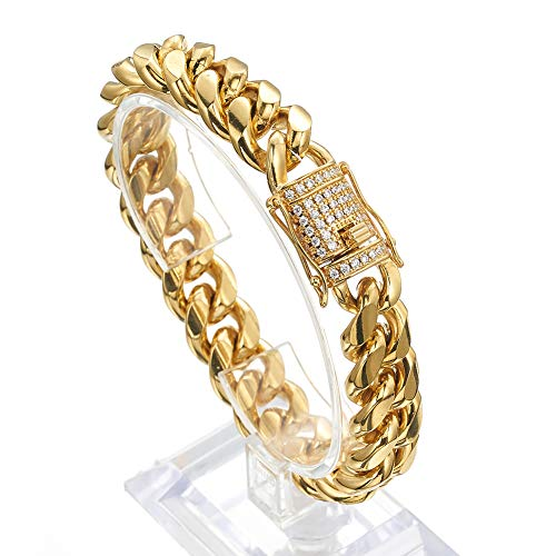 Jxlepe Mens Miami Cuban Link Chain 18K Gold 15mm Stainless Steel Curb Necklace with cz Diamond Chain Choker (7.5, Bracelet)